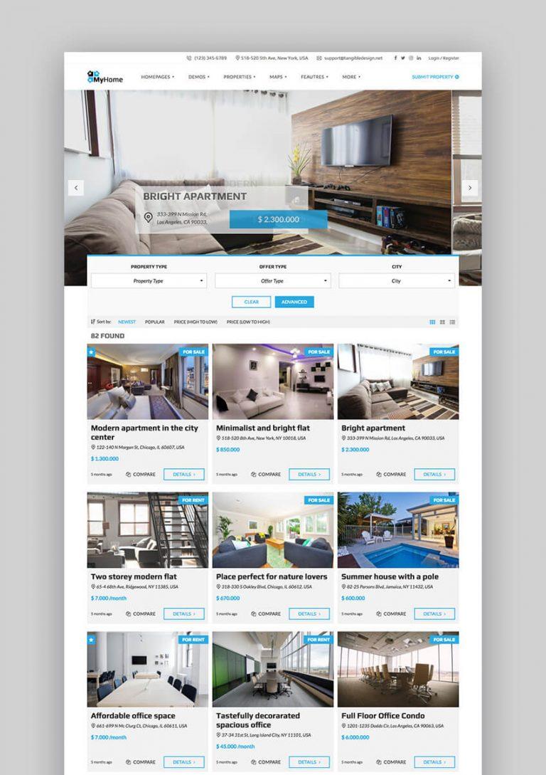Theme WordPress bất động sản myhome