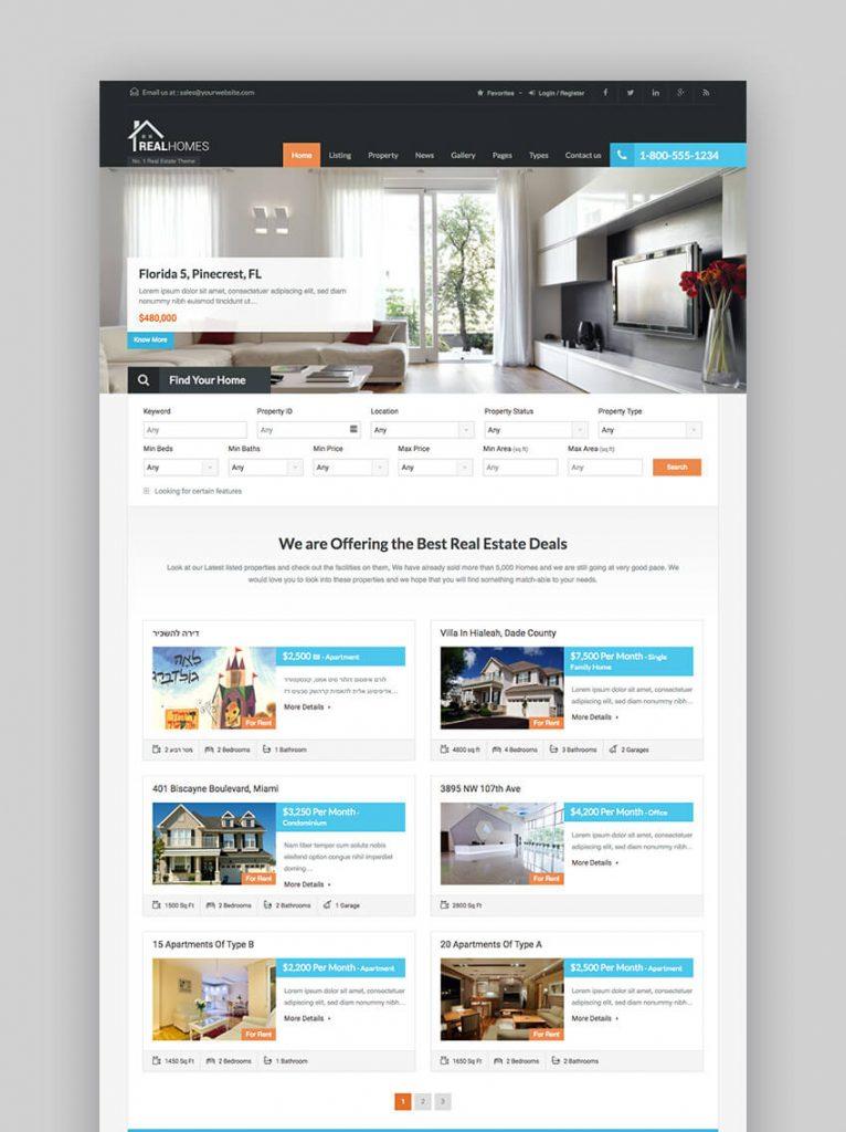 theme wordpress bất động sản real homes